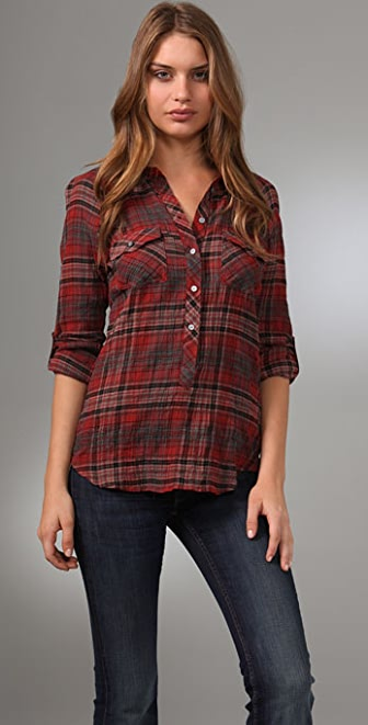 C&C California Siren Plaid Henley Top