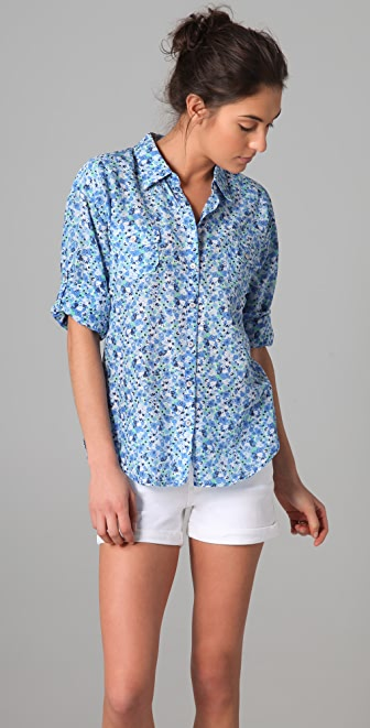 C&C California Jolie Floral Print Roll Sleeve Pocket Shirt