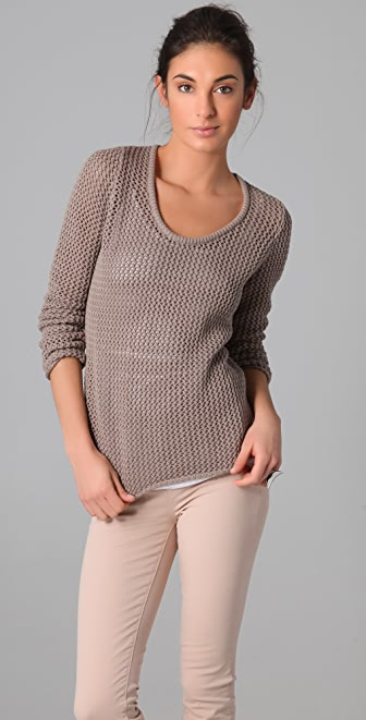 C&C California Long Sleeve Scoop Neck Mesh Sweater