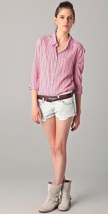 C&C California Crinkle Floral Stripe Shirt