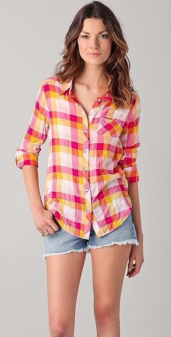 C&C California Juniper Multi Check Roll Sleeve Shirt