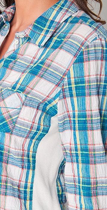 C&C California Joshua Plaid & Rib Roll Sleeve Shirt
