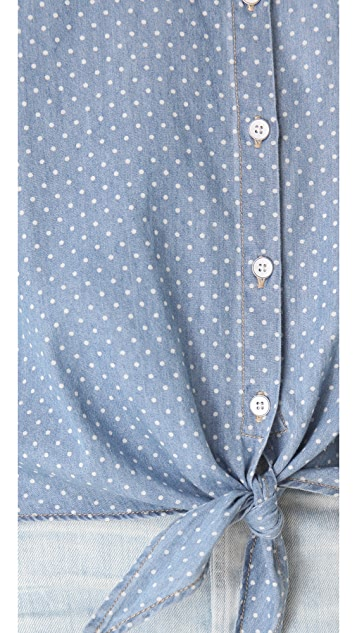 C&C California Roll Sleeve Tie Front Shirt