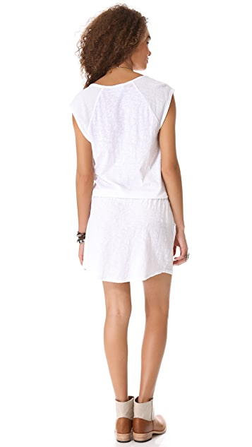 C&C California Mesh Trim Cap Sleeve Dress