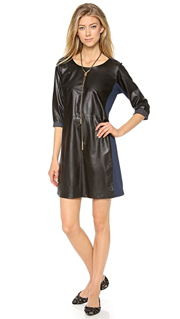 C&C California 3/4 Sleeve Dress with Faux Leather