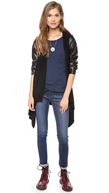 C&C California Drape Cardigan with Faux Leather