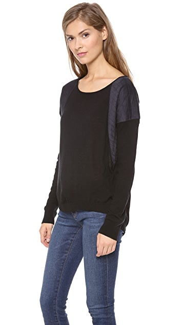C&C California High Low Quilted Patch Sweater