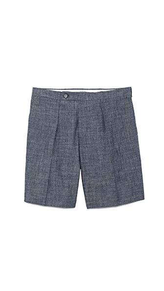 Carven Chambray Pleat Shorts