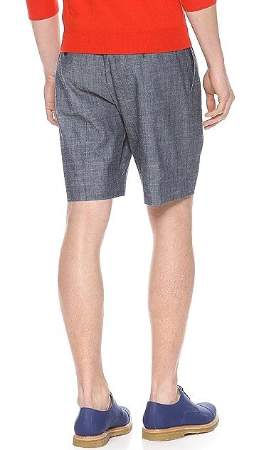 Carven Chambray Pleat Shorts