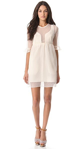 Carven Short Sleeve Empire Waist Shaped Dress