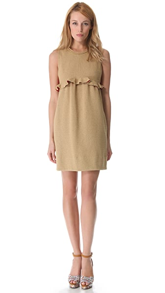 Carven Sleeveless Dress with Ruffle Waist