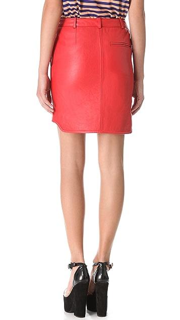 Carven Slash Pocket Leather Skirt