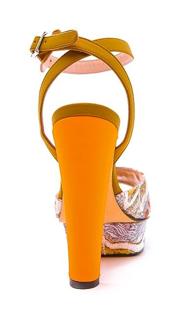 Carven Paris Print Platform Sandals