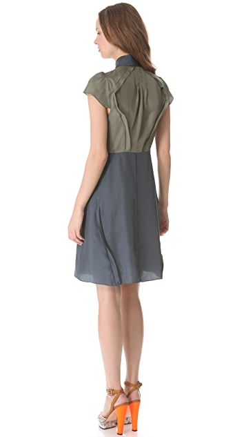 Carven Colorblock Short Sleeve Dress