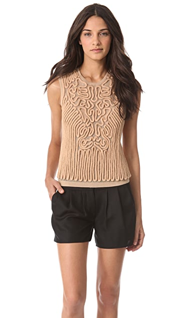 Carven Sleeveless Embroidered Knit Top