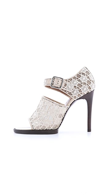 Carven Lace & Patent Sandals