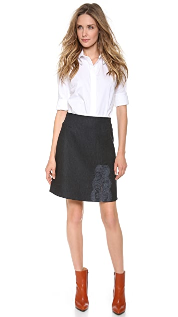 Carven Striped Flannel Skirt