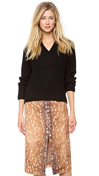 Carven Cropped Cabled Sweater