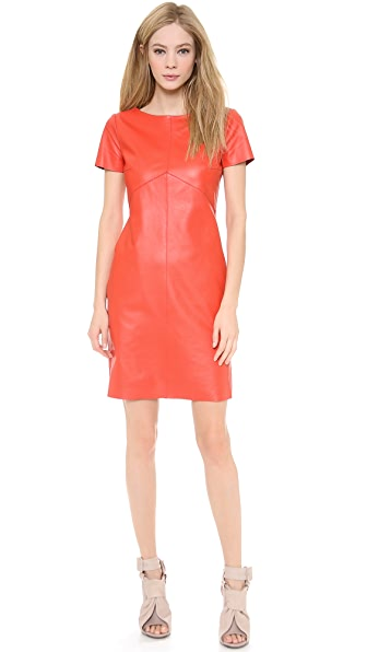 Carven Short Sleeve Leather Dress