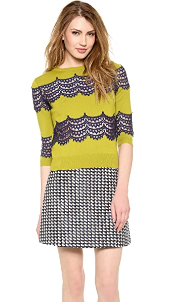 Carven Crochet Stripe Sweater