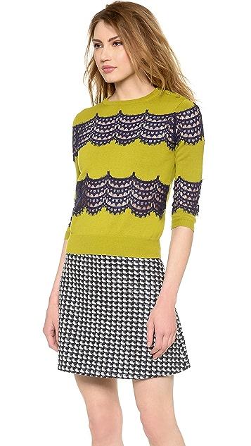 Carven Crochet Stripe Sweater