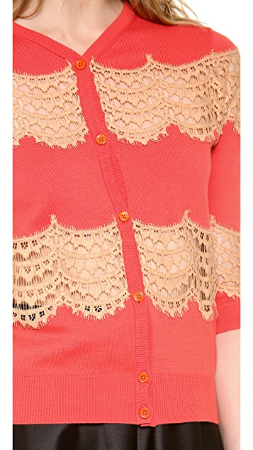 Carven Lace and Knit Cardigan