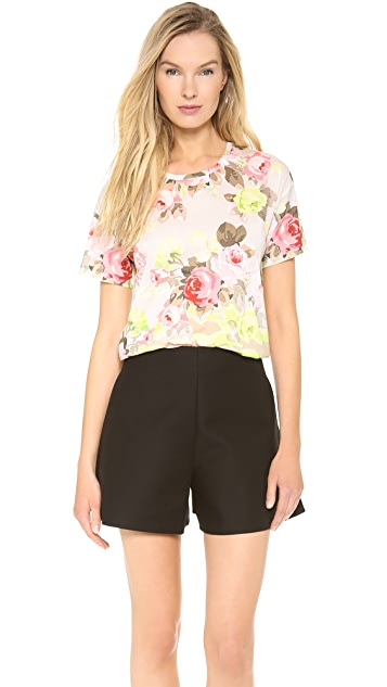 Carven Short Sleeve Print Top
