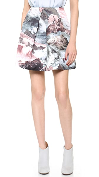 Carven Printed Sateen Skirt