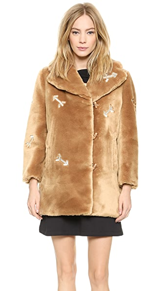 Carven Faux Fur Coat with Arrows