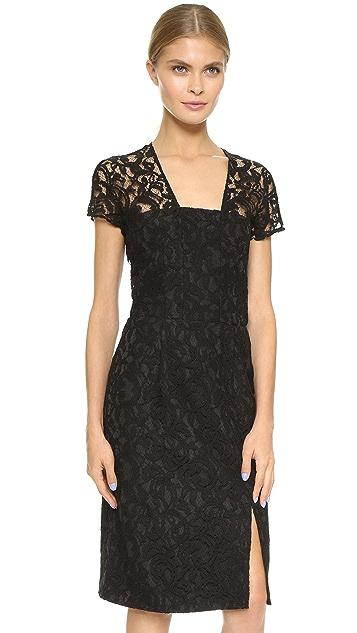 Carven Short Sleeve Lace Dress