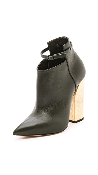 Casadei Leather Booties with Wooden Heel