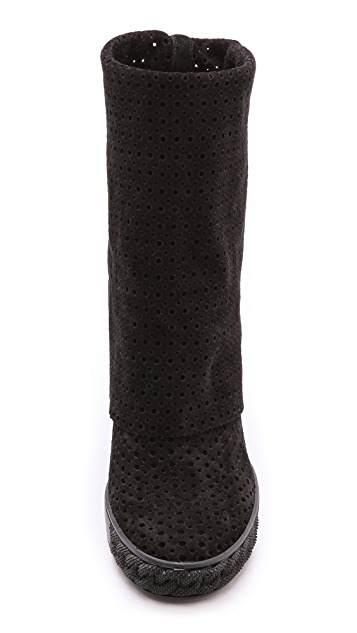 Casadei Perforated Suede Boots