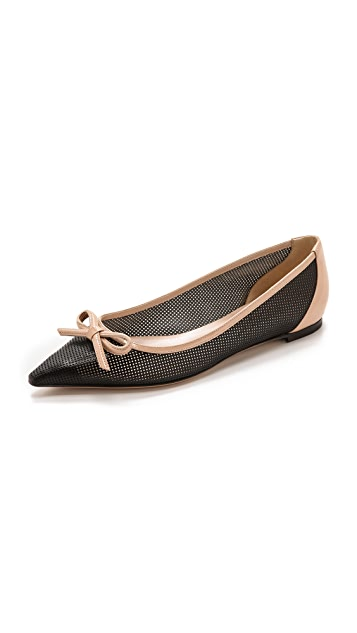 Casadei Pointed Perf Leather Flats