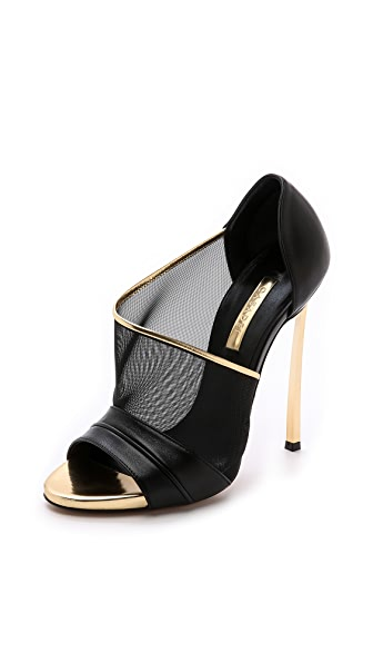 Casadei Mesh & Leather d'Orsay Pumps