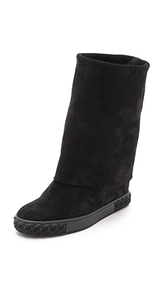 Casadei Fold Over Boots - Black at Shopbop