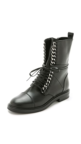 Casadei Leather & Chain Combat Boots