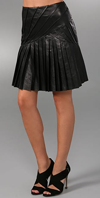 Catherine Malandrino Leather Skirt with Pleated Starburst Detail
