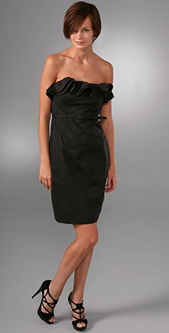 Catherine Malandrino Belted Strapless Dress with Couture Ruffles