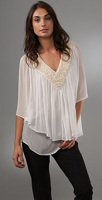 Catherine Malandrino V Neck Tiered Blouse with Rosettes