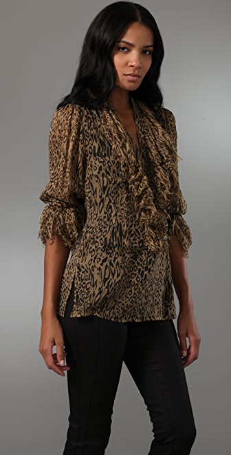 Catherine Malandrino Long Sleeve Top with Shredded Detail
