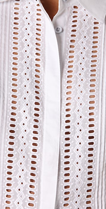 Catherine Malandrino Cropped Tie Waist Blouse
