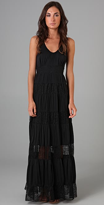 Catherine Malandrino Maxi Dress with Lace Panels