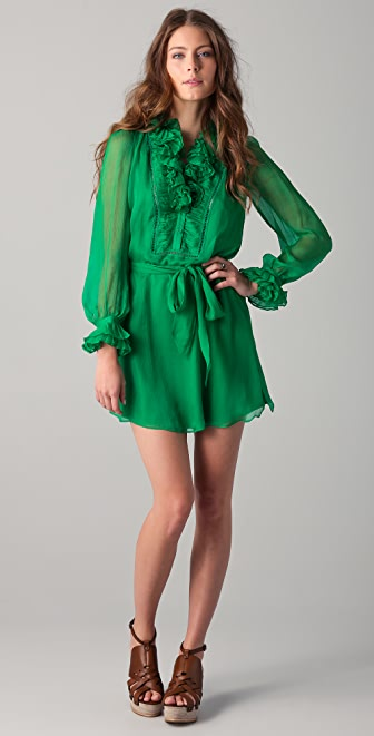 Catherine Malandrino Long Sleeve Dress with Ruffles