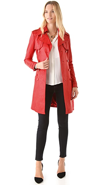 Catherine Malandrino Leather Trench Coat
