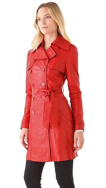 Catherine Malandrino Leather Trench Coat