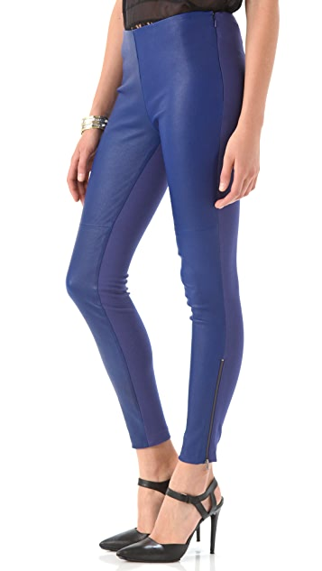 Catherine Malandrino Zip Up Leather Pants