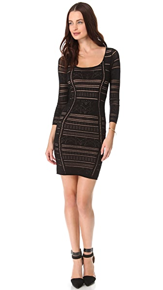Catherine Malandrino Pointelle Deep V Dress