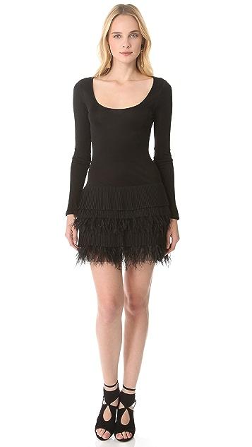 Catherine Malandrino Feather Skirt Dress
