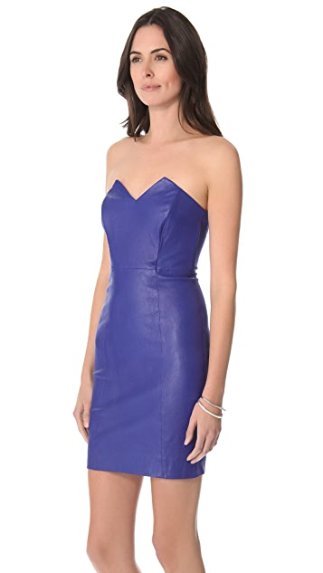 Catherine Malandrino Leather Combo Strapless Dress