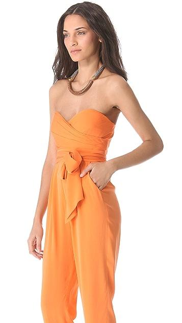 Catherine Malandrino Strapless Silk Jumpsuit